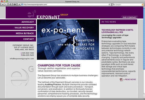 Exponent Group Website Design